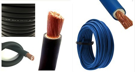 black and blue welding cable
