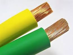 yellow and green welding cable